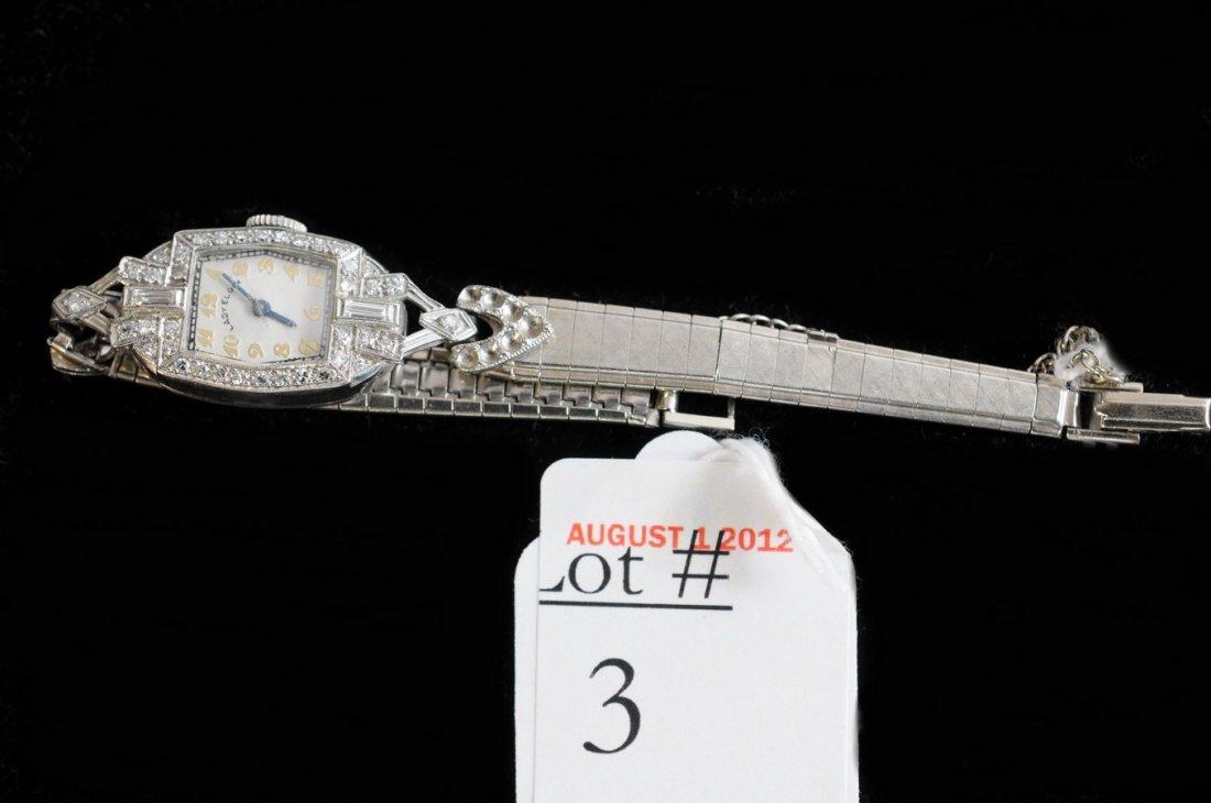 3: Ladies Platinum and Diamond Elgin wrist watch