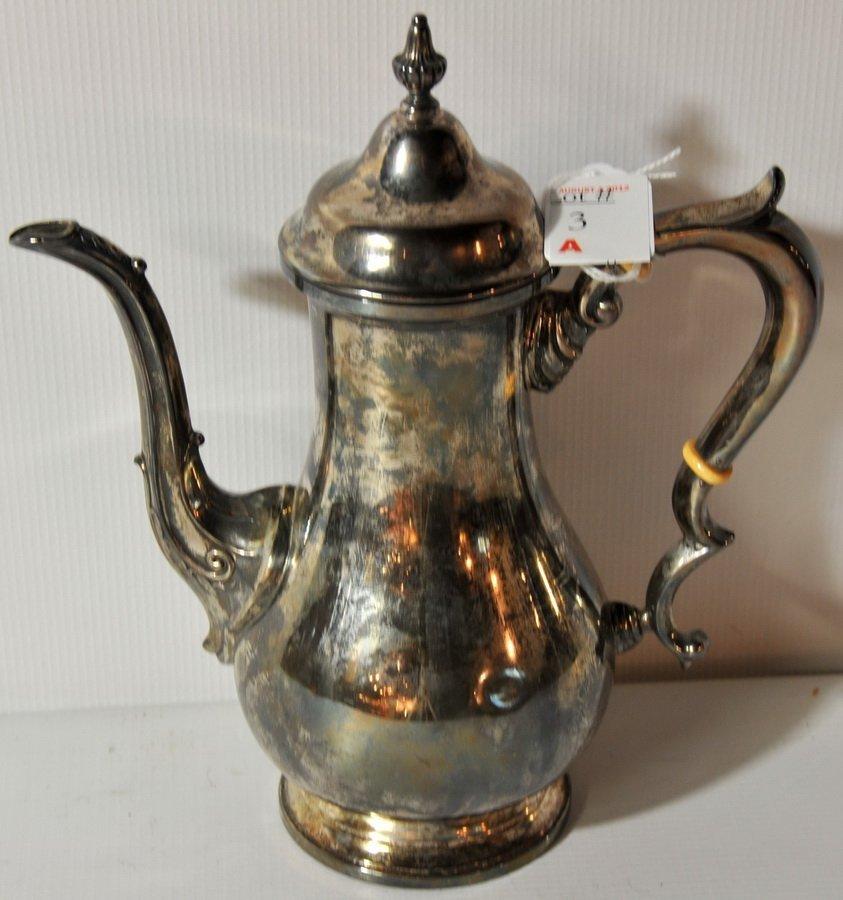 "3A: 9""H sterling tea pot signed on bottom ""Fisher"" 9401"