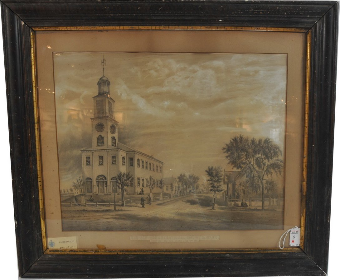 """6A: lithograph 20.5"""" x 16"""" in frame. Old Congregational"""