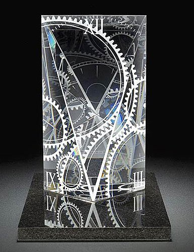 """7: Steuben Crystal Sculpture """"Perfect Timing"""" New In Bo"""