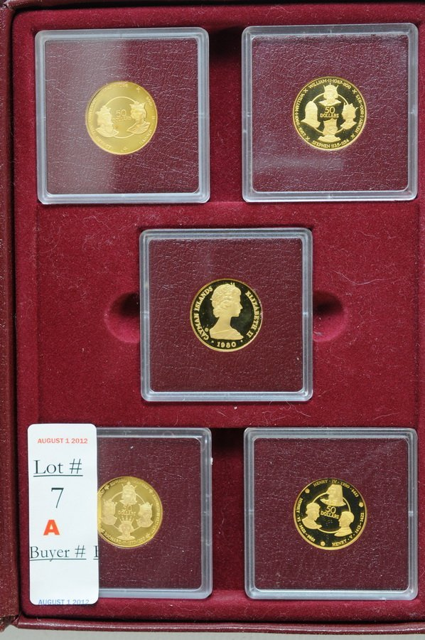 7A: 1980 Cayman Island 5 gold coin Kings set