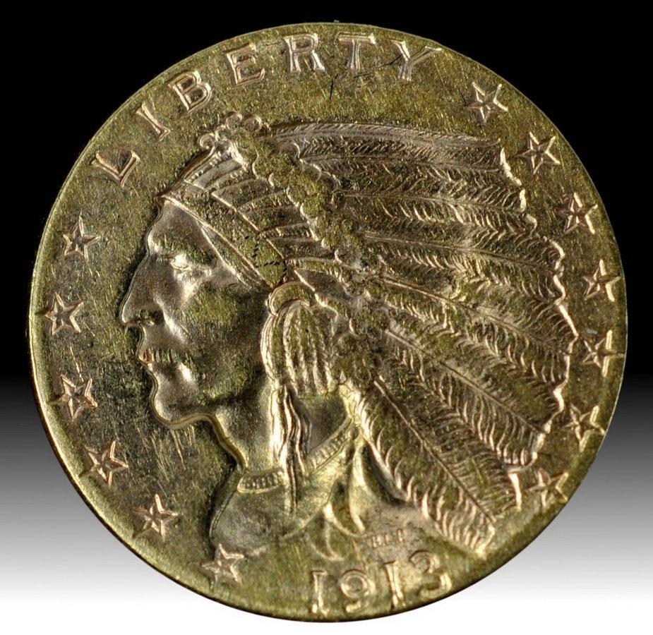 10A: Indian Head 2 1/2 dollar gold coin circa 1913