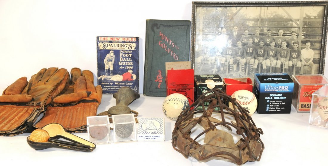 11A: Collection of early sports equipment and items, to