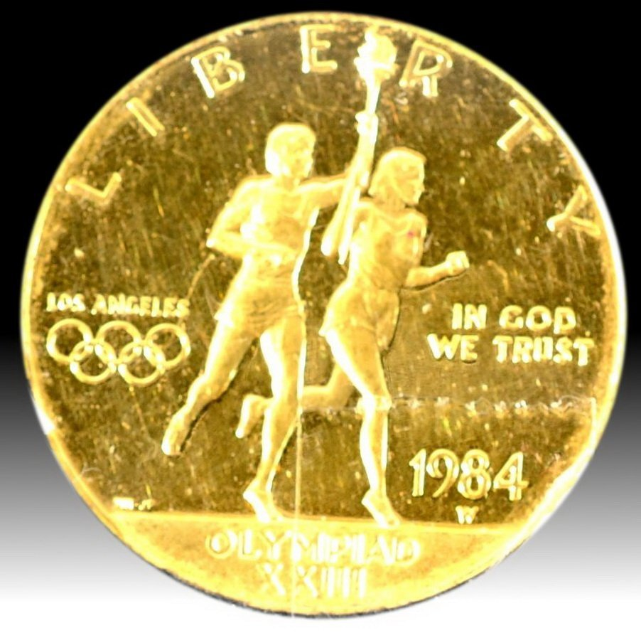 12A: 1984W $10 Olympic Gold Coin Proof 69