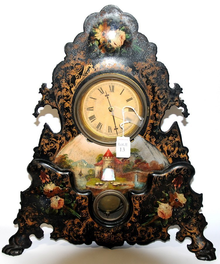 13: Decorative mantle clock with mother of pearl inlay
