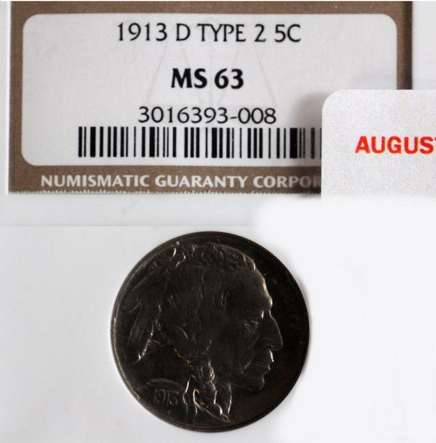 13A: 1913 D Type 2 Buffalo Nickel graded MS 63