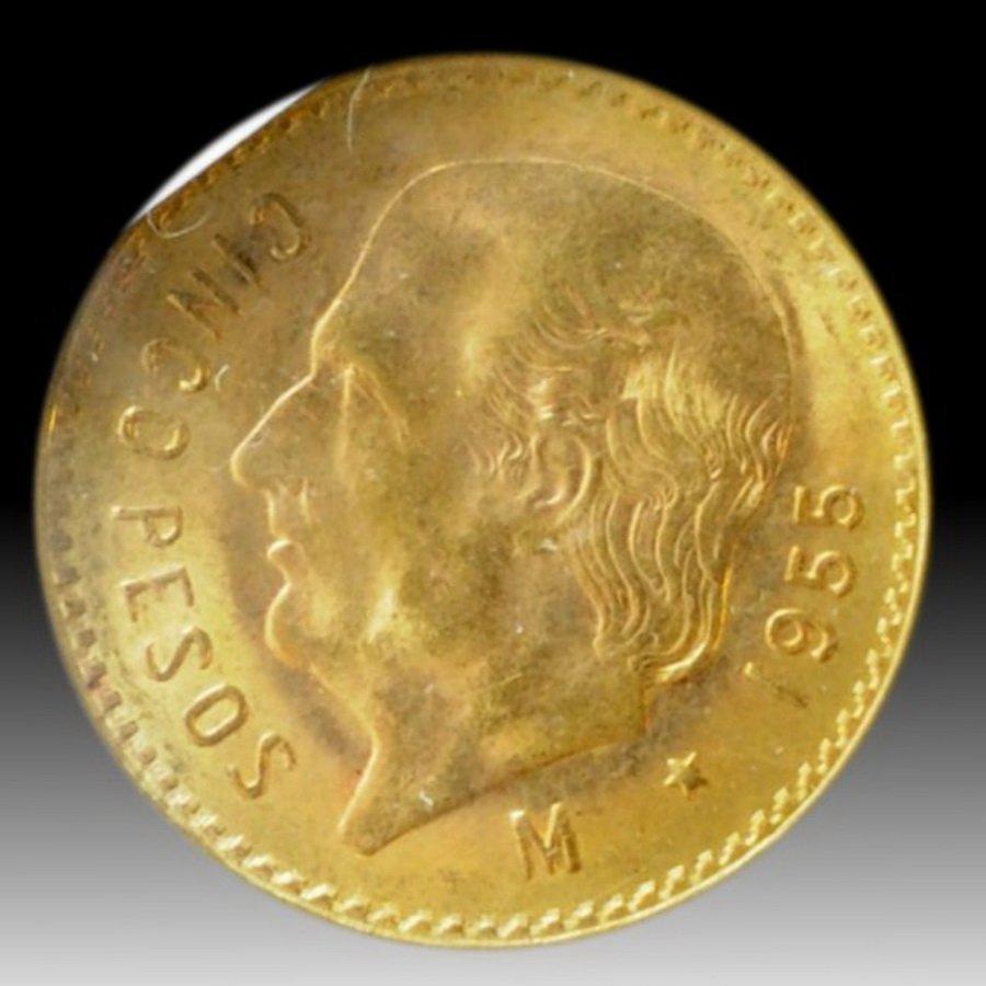 17: 1955 Mexico 5 Pesos Gold Coin