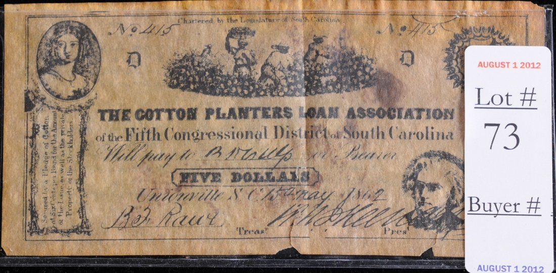 73: 1867 The Cotton Planters Loan Association $5 Note