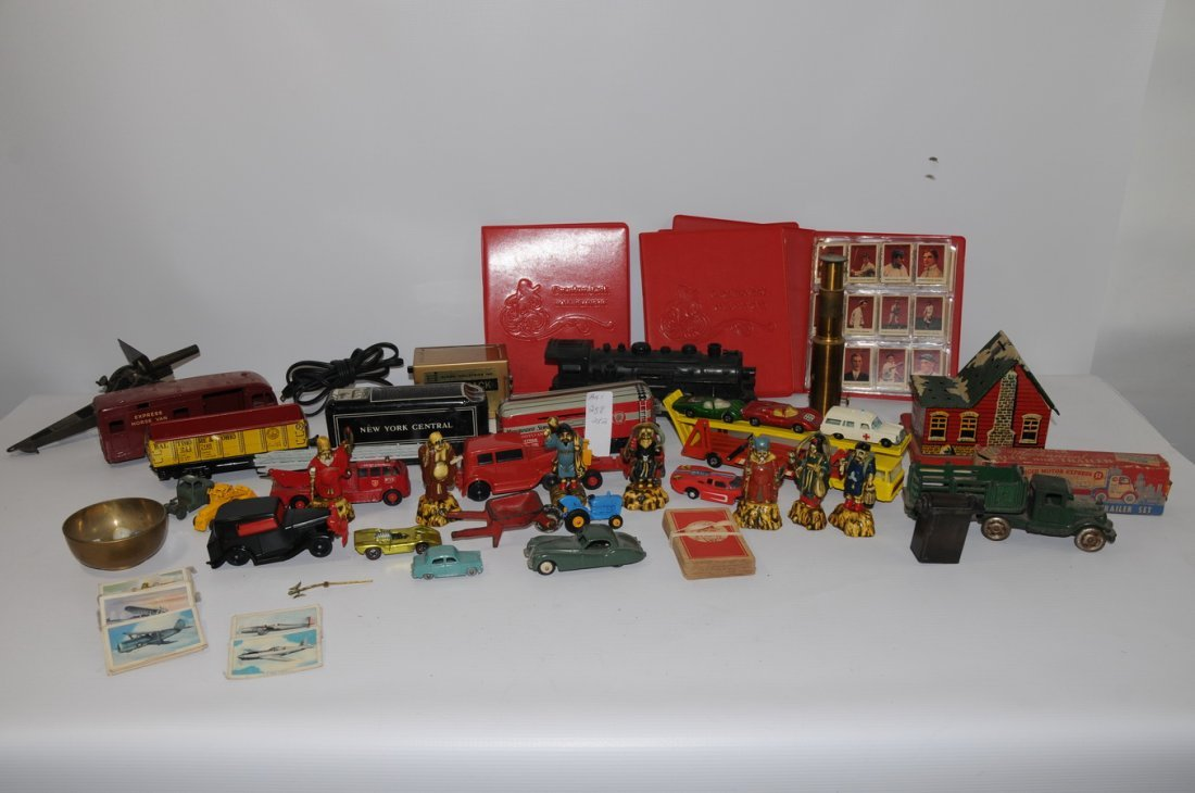 258: 2 Boxes of toys including Marx train cars, Tootsie