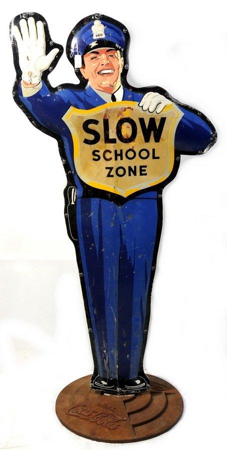10A: 1954 Coca Cola School Zone Tin Lithograph Police M