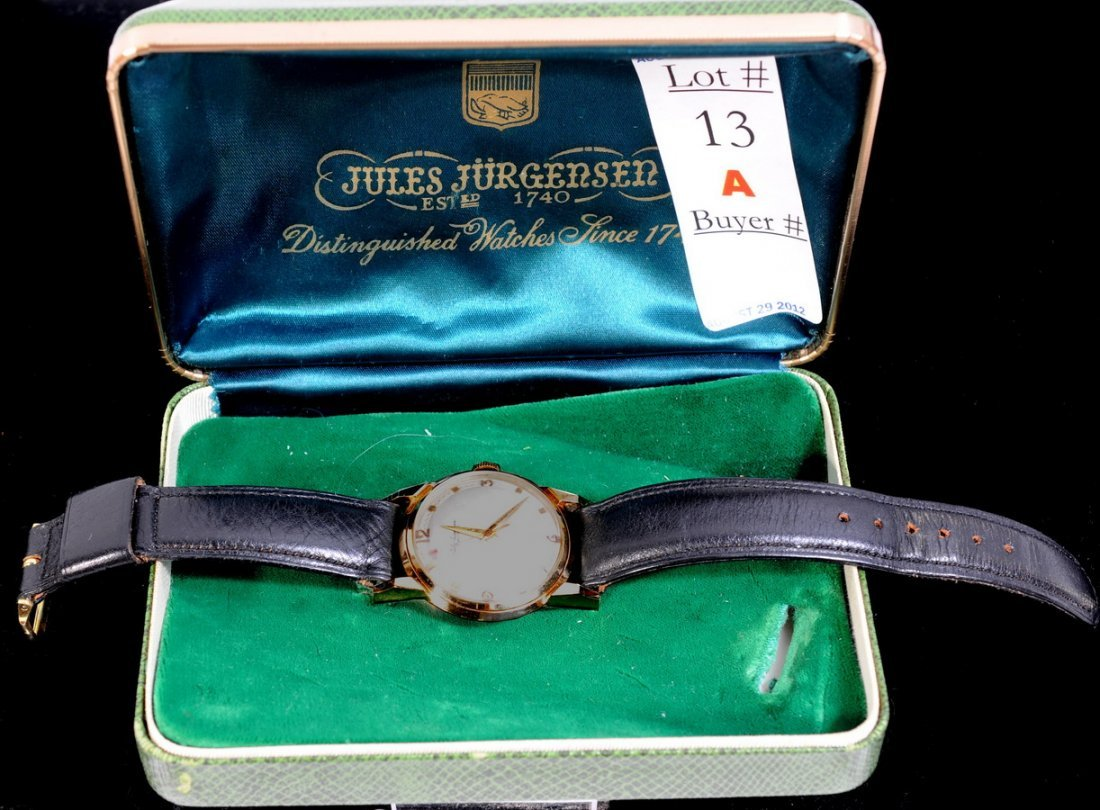 13A: 17 Jewel 14Kt. Jules Jurgensen Wrist watch in orig