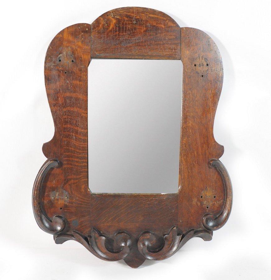 "15A: Small Dark Oak Mirror with intricate design 15 12"""