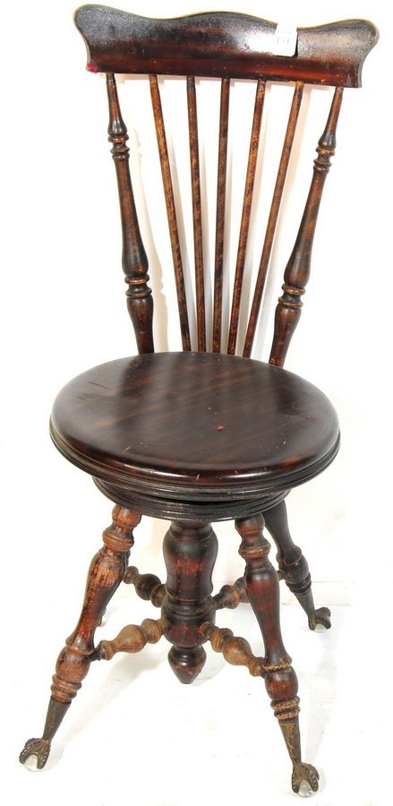 Melvin Bancroft Mahogany high back piano stool