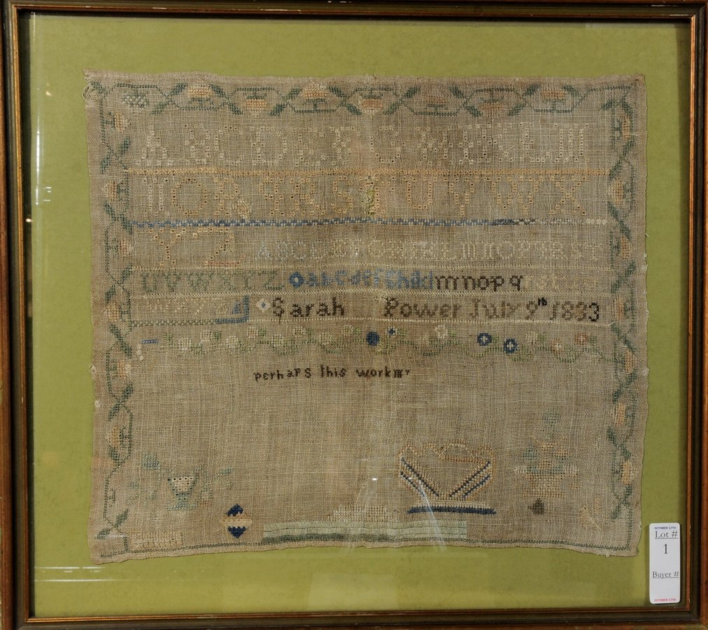 1: 1833 Needlework Sampler by Sarah Power 18x15