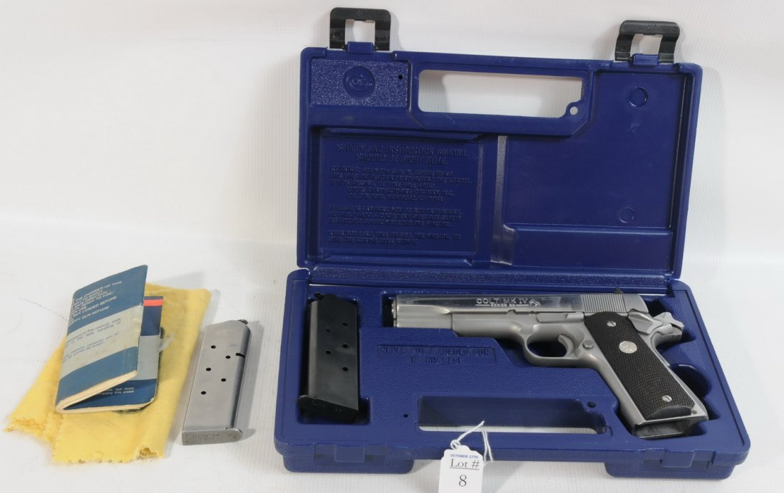 8: Colt 1911, MK IV, 45 cal. Series 80, stainless steel