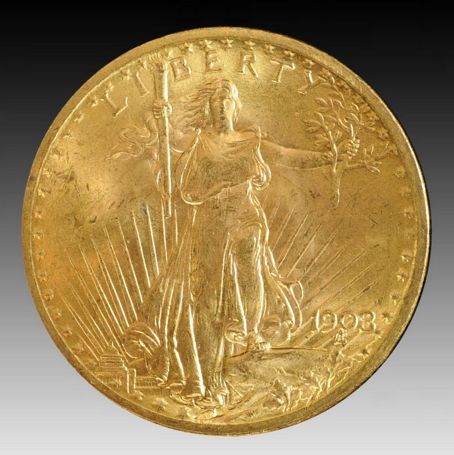 9: 1908 Saint Gaudens No Motto Double Eagle $20 Gold Co