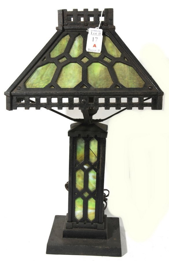 "17A: Slag Glass Lamp , light house style 21"""