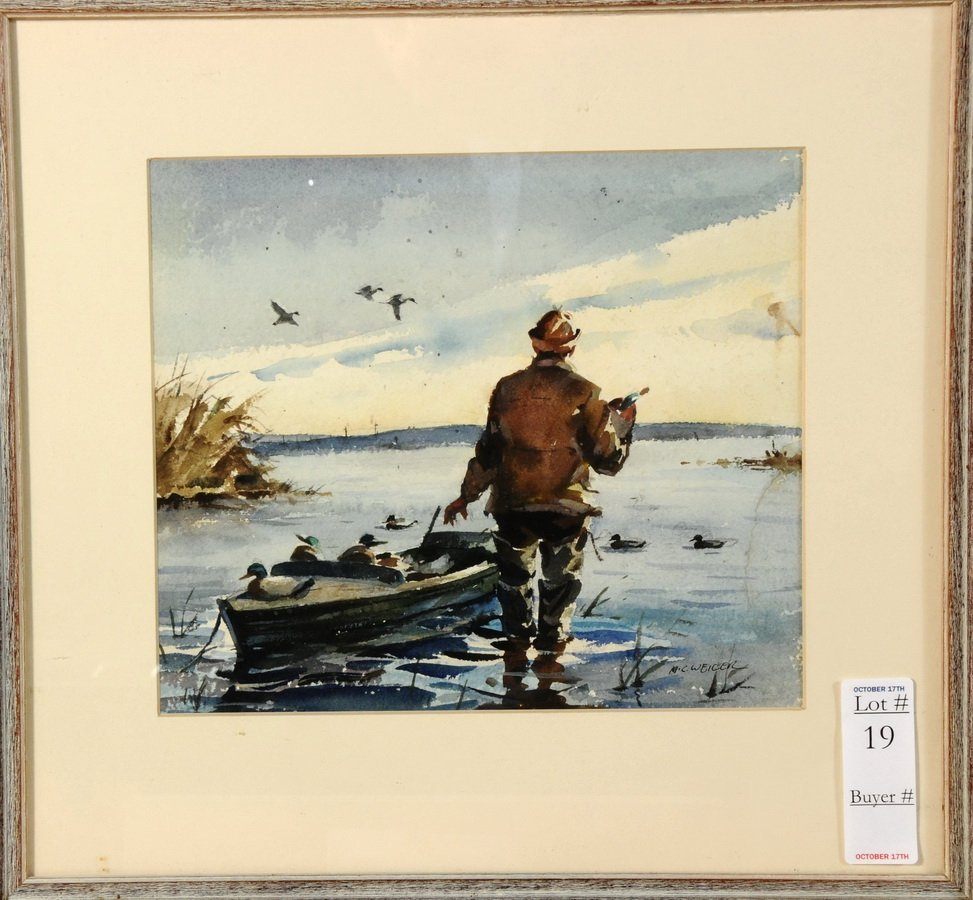 19: Watercolor on Paper of man duck hunting by Milton W