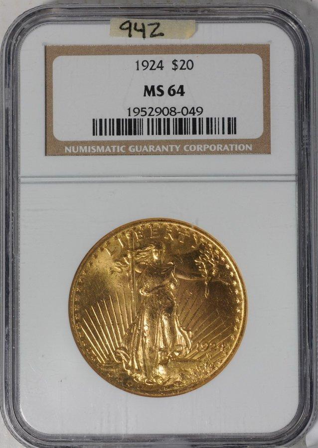 12: 1924 Saint Gaudens Double Eagle $20 Gold Coin grade