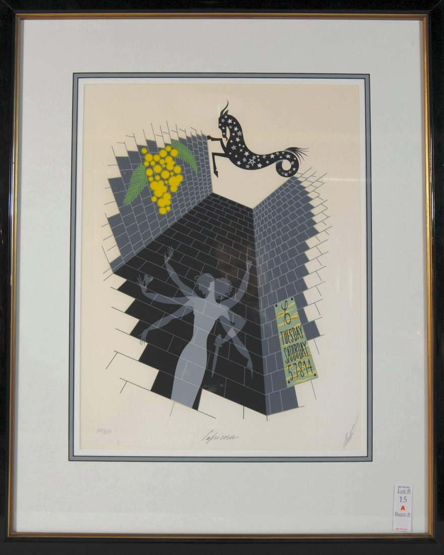 15A: Capricorn Zodiac Lithograph by Erte signed in penc