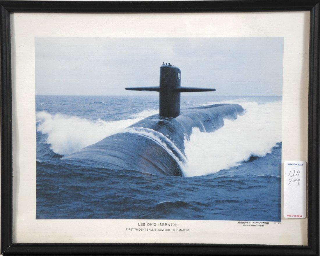 """12A: 9 US Submarine Color Photos 11 X 14"""" framed: Uss O"""