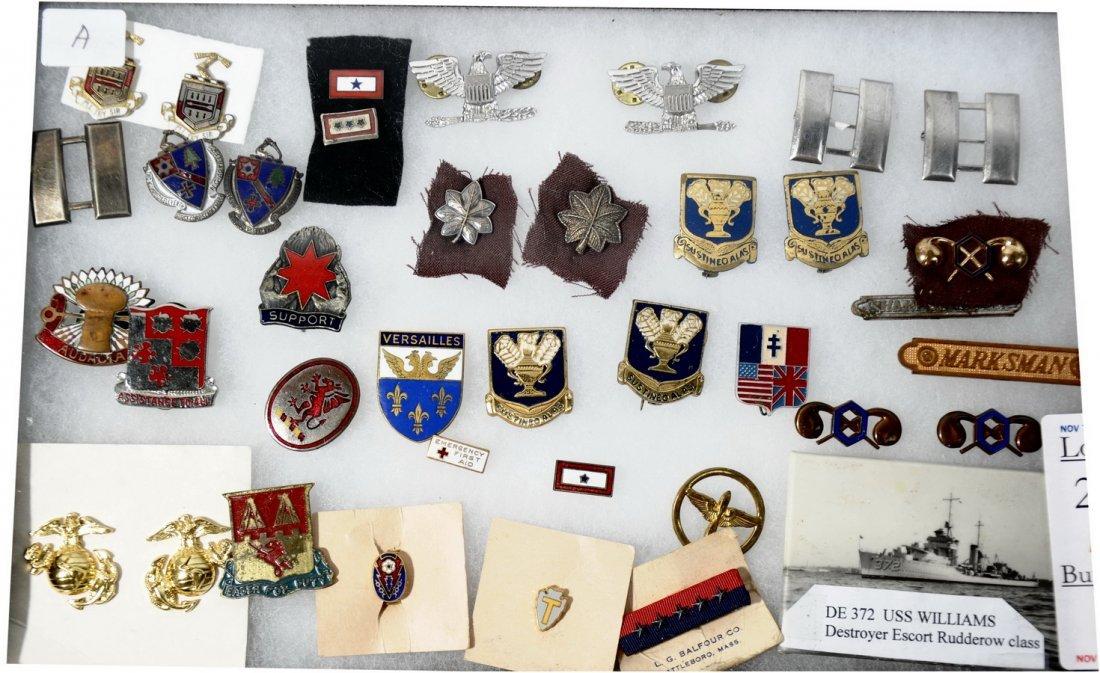 23A: WWII D.I.'s, Rank Insignia, Marksman Medals, etc.