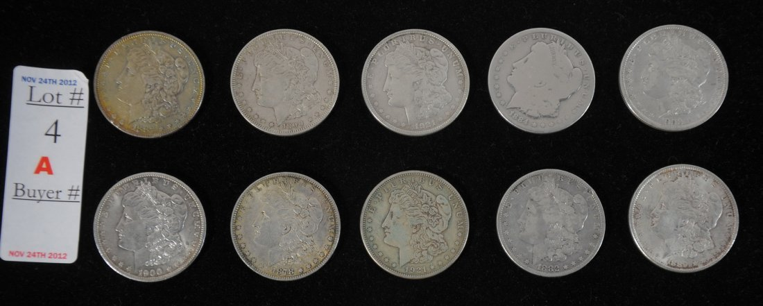 4A: Collection of 10 Morgan Silver Dollars