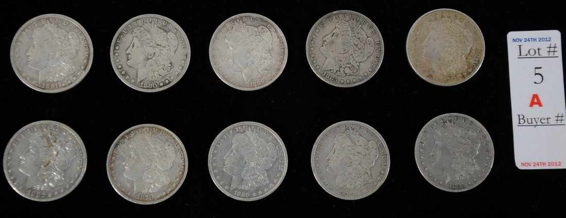 5A: Collection of 10 Morgan Silver Dollars