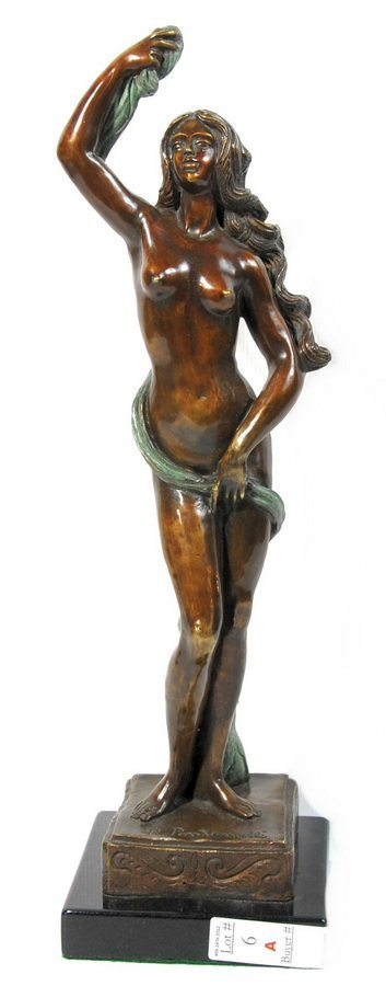 """6A: Art Deco Lady Bronze """"Temptation"""" 19 1/2""""H signed R"""