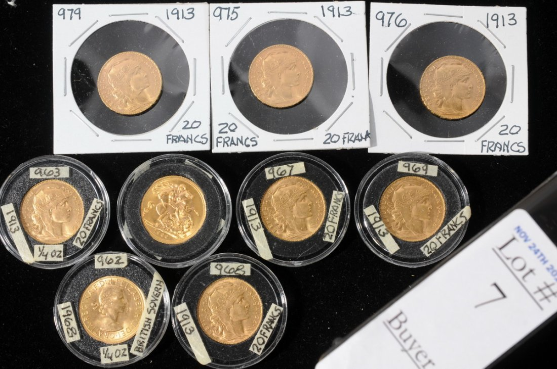 7: Collection of 9 Foreign Gold Coins including 2 Briti