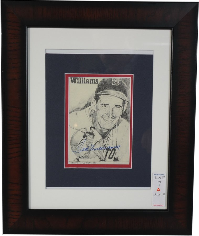 7A: James Amour Black and White Print of Ted Williams,