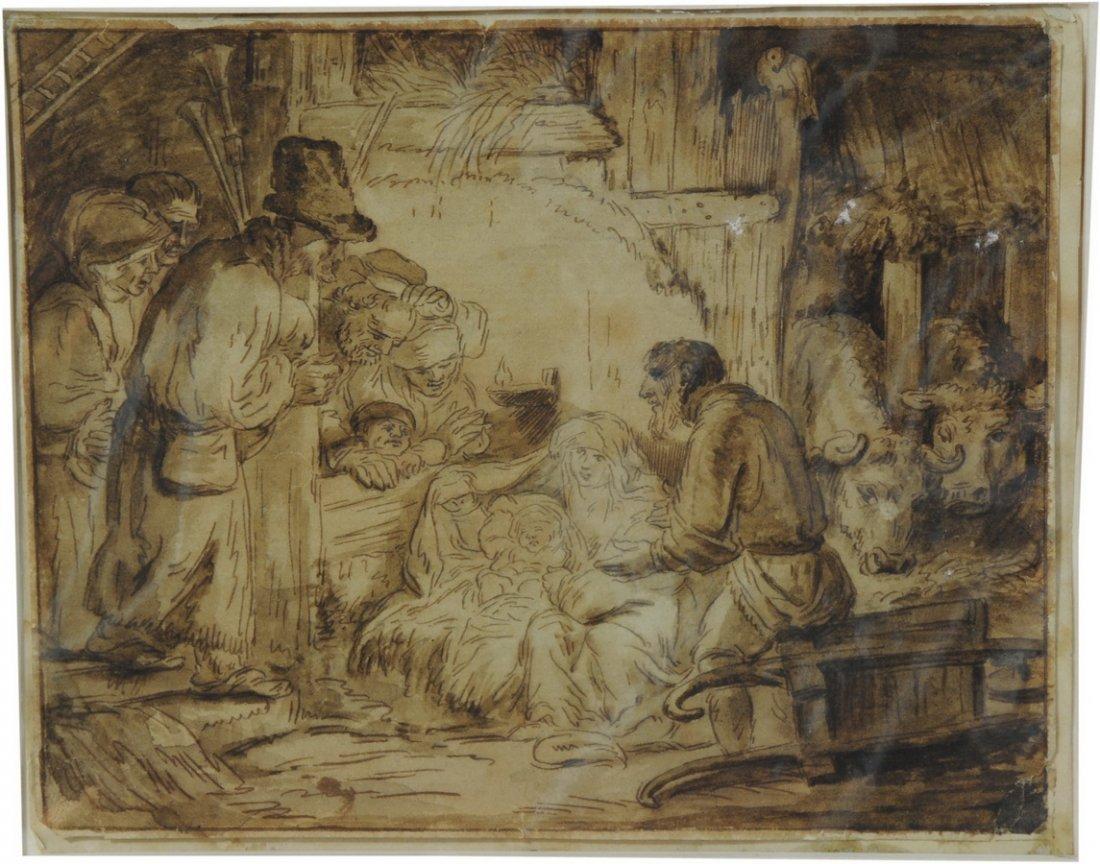 "9: Original Etching by Rembrandt circa 1654 ""The Adorat"