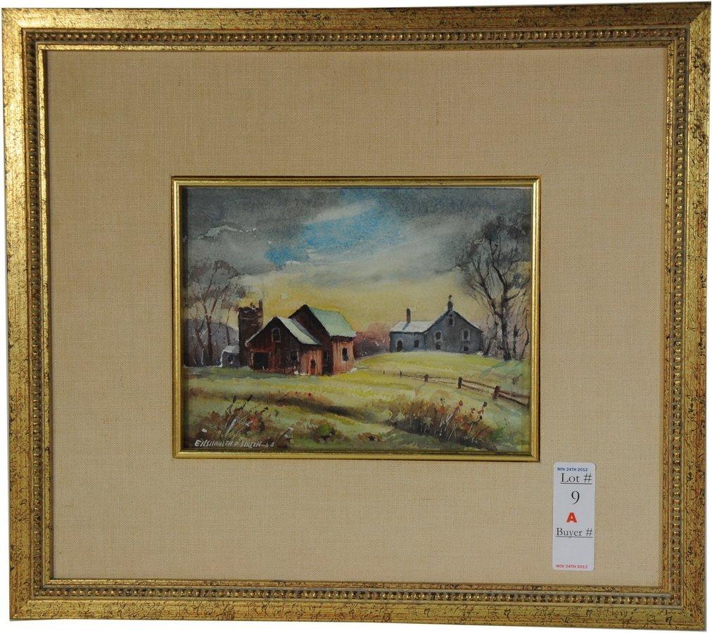9A: Watercolor of farm scene by Ellsworth P.Smith Liste