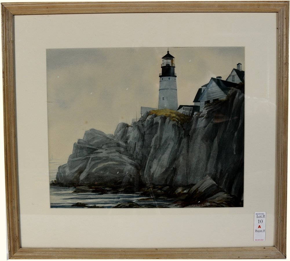 10A: Watercolor of Portland Headlight by Listed Artist