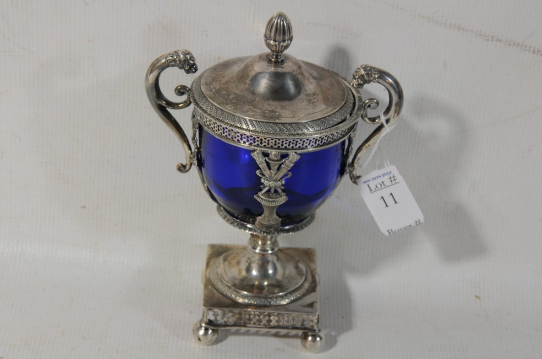11: Early French Silver Covered urn with cobalt glass i