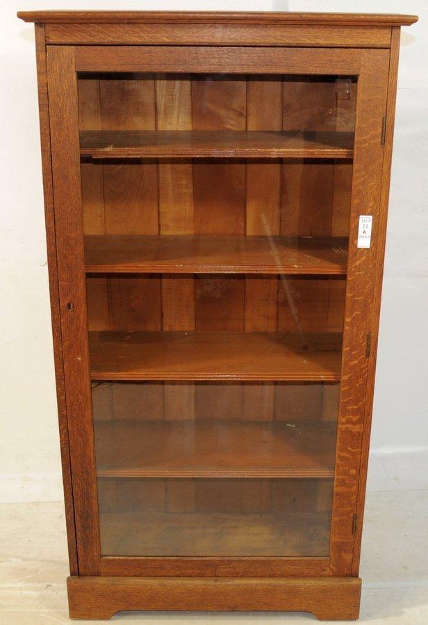 11A: Oak Five Shelf glass door bookcase 54x29