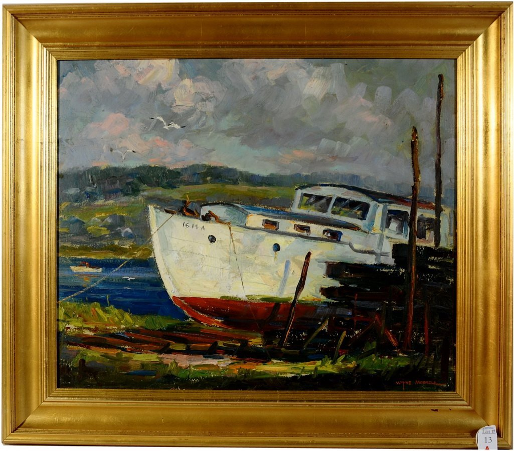 """13A: Oil on Board """"Dry Dock, Gloucester Massachusetts"""""""