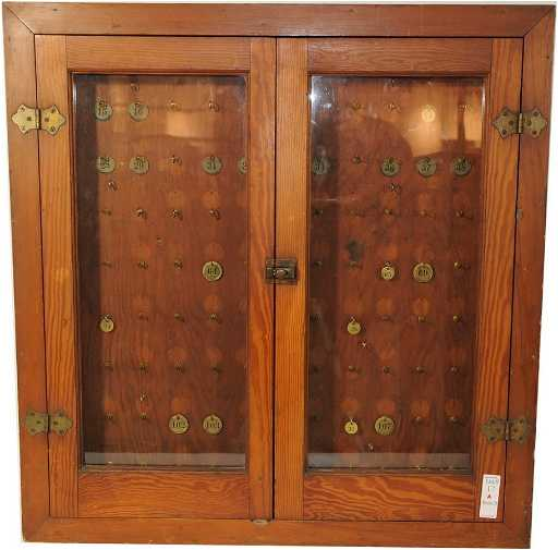- 17A: Antique Oak Valet Key Cabinet 31x30 On LiveAuctioneers