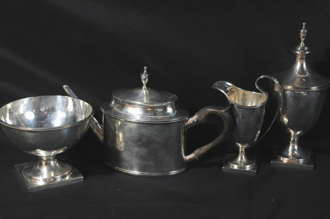 20: Early American Coin Silver Tea Service by John Vern