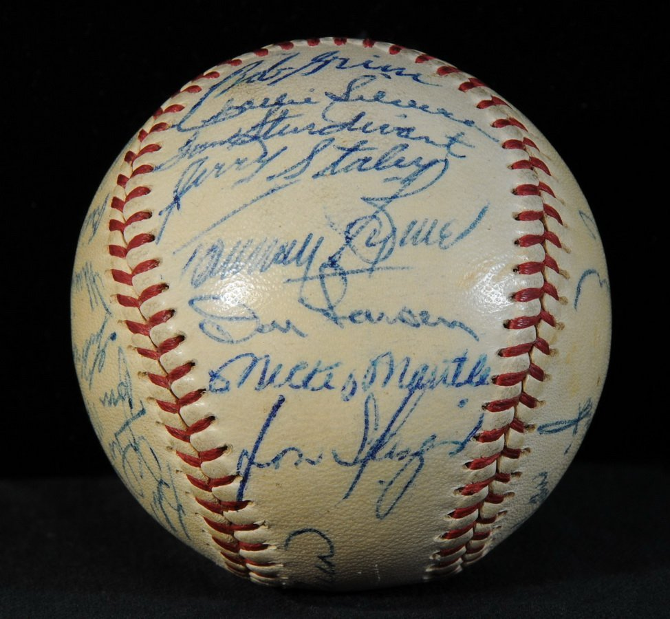 56: 1956 NY Yankees World Series ball signed by entire