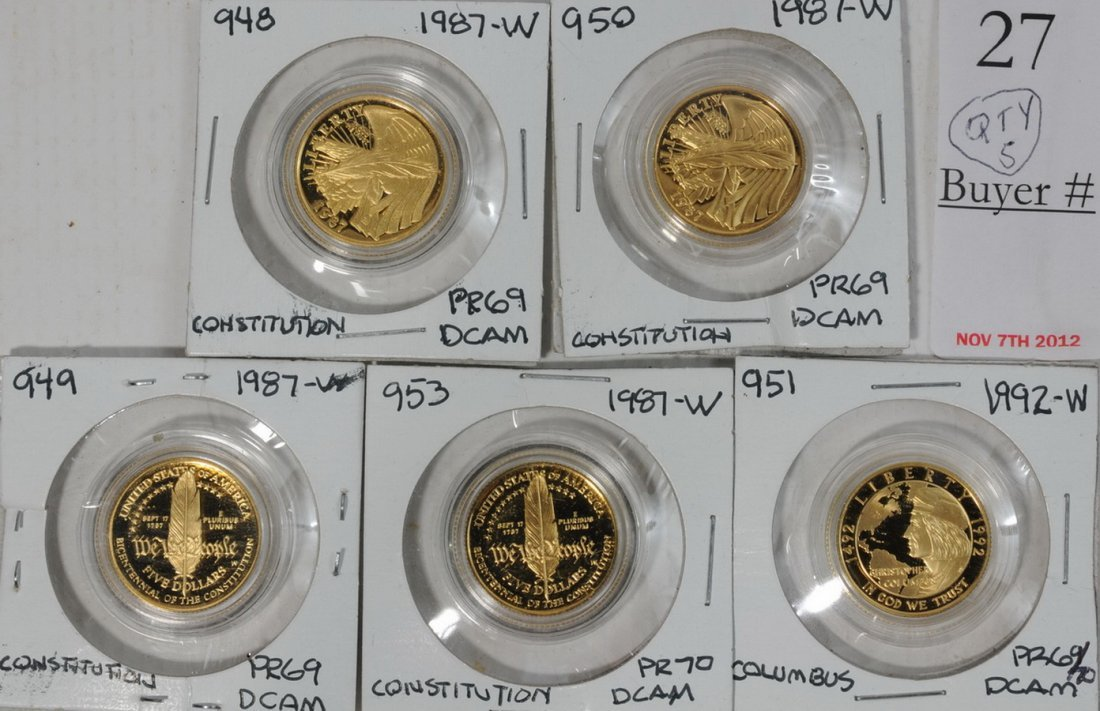 Collection of (5) Proof 1/4 ounce Commemorative Gold Co