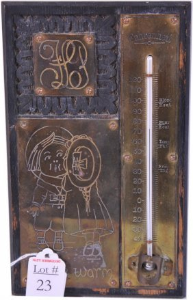 23: Carved Oak Thermometer