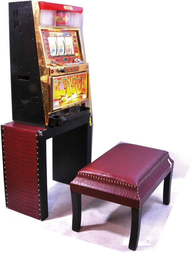"6: Electo Slot Machine 32"", with button bound stand and"