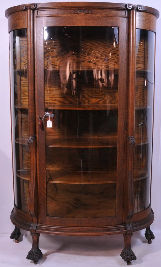 8: Oak Bow Front Claw Foot China Closet 64x40