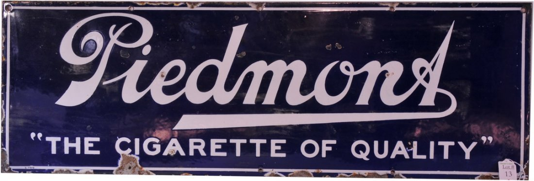13A: Porcelain Piedmont Cigarette Sign 36x12