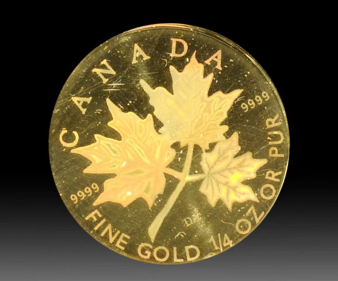 30: 2001 1/4 Canadian Maple Leaf Proof Hologram Gold Co