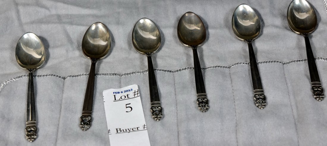 Six Royal Danish Sterling Demitasse Spoons 2.55 Troy Ou
