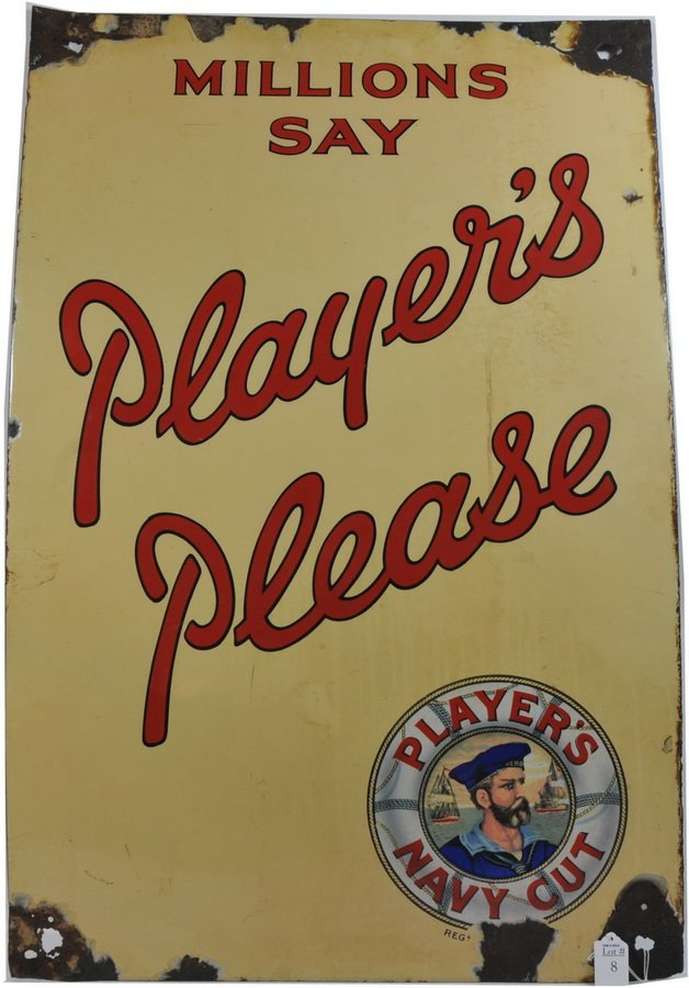 Porcelain Players Navy Cut Sign 35x23