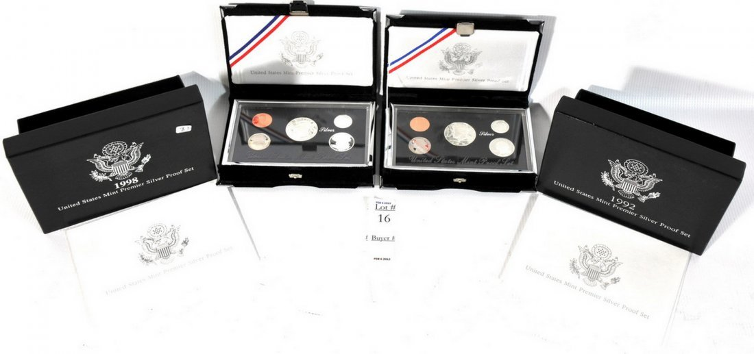 1999 Silver premier proof set with 1998 Sliver premier