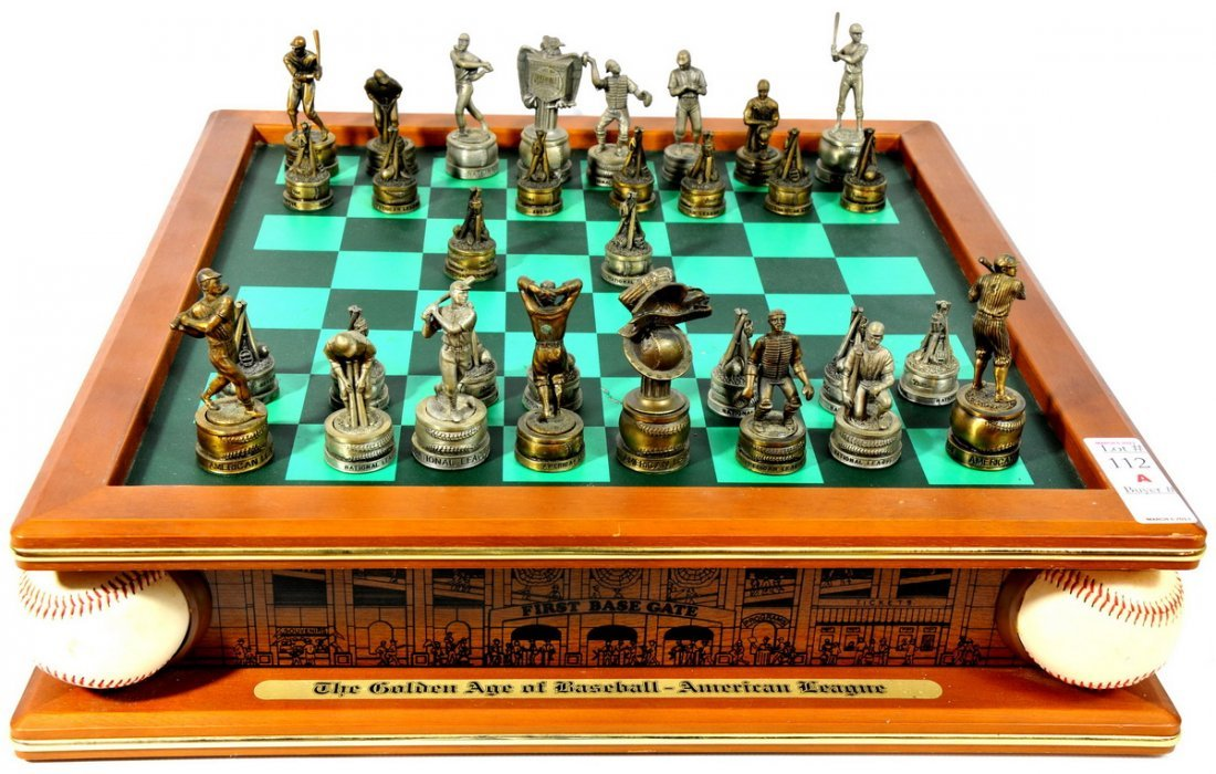 Baseball Golden Age Chess Set with pieces including Bab